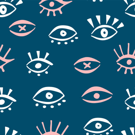 Seamless pattern with eye icons. Doodle hand draw line illustration. Vector print background. Minimal fashion texture