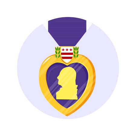 Purple Heart Orden in the circle. Isolated vector badge and purple ribbon in flat style. Celebrate honor, courage, merit. 7 august in USA