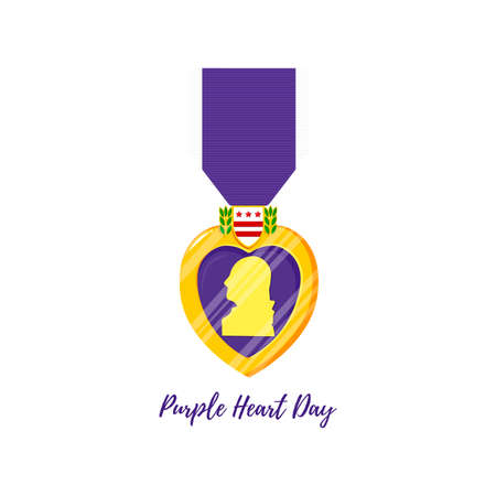 Purple Heart Day. Isolated vector badge and purple ribbon in flat style. Celebrate honor, courage, merit. 7 august in USA