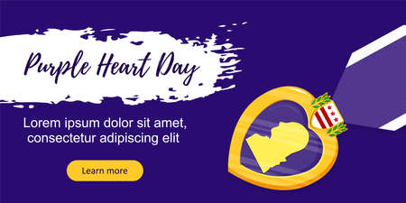 Vector template poster Purple Heart Day. Badge and purple ribbon in flat style on violet background. Celebrate honor, courage, merit. 7 august in USA banner concept