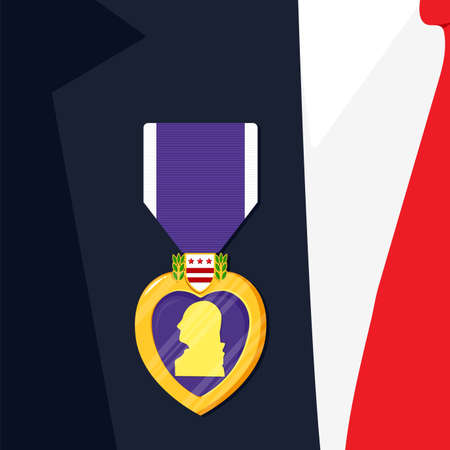 Purple Heart Badge on the suit. Order and purple ribbon in flat style. Celebrate honor, courage, merit. 7 august in USA