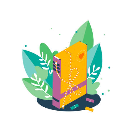 Isolated isometric packed book in big green leaf. Charity recycle gift. New life for used book concept. Vector Illustration