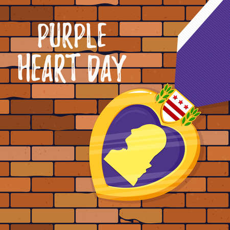 Vector template card Purple Heart Day on brick background. Badge and purple ribbon in flat style. Celebrate honor, courage, merit. 7 august in USA banner concept Ilustrace