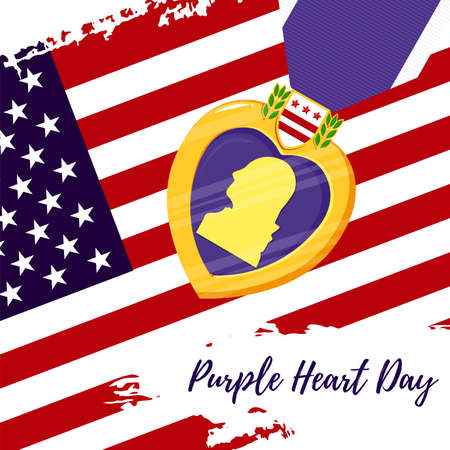 Vector template card Purple Heart Day. Badge and purple ribbon on US flag background. Celebrate honor, courage, merit. 7 august in USA banner concept Stock Illustratie