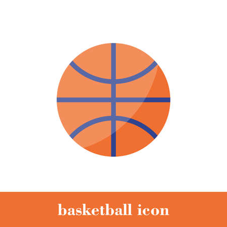 Isolated vector orange basketball icon in flat style. Basket ball  illustration. Concept design. Silhouette ball. Modern minimal style