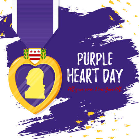 Vector template card Purple Heart Day. Badge and purple ribbon in flat style on violet paint background. Celebrate honor, courage, merit. 7 august in USA banner concept