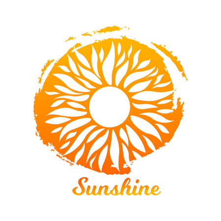 Vector Illustration. Watercolor sun on paint yellow circle ink. Summer sunshine icon. Isolated logo concept background