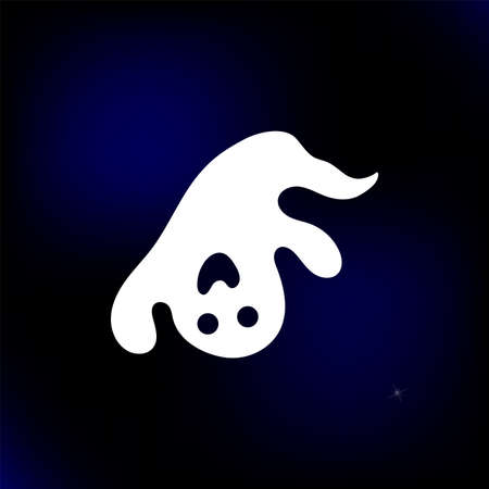 Halloween vector cute ghost silhouette. Spooky icon on the sky with stars background. White isolated shape on vector illustration