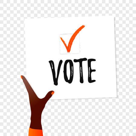 Vote text. Ballot Banner in the hand on transparent background. Motivation vector illustration. Online feedback design concept