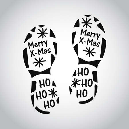 Isolated Santa footprint on white background. Claus cut foot template. Winter outdoors silhouette. Christmas guest mark. Vector illustration Illusztráció