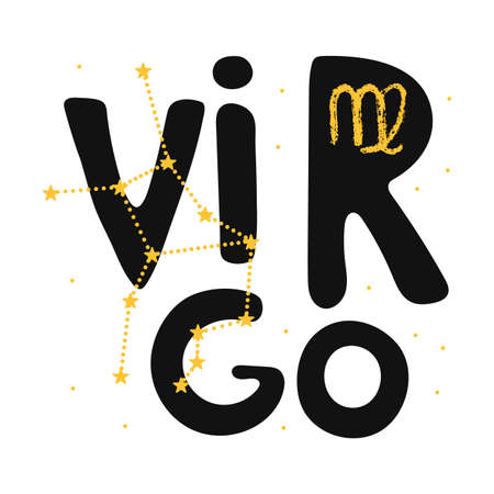 Virgo vector zodiac sign. Hand lettering horoscope illustration in cute Scandinavian style. Isolated paint . Forecast 2021. Modern card background