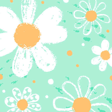 Template minimal botanical pattern with cute daisies. Printable hand draw background for textile pillow, shirt, toy, card, sale. Vector Illustration Ilustrace