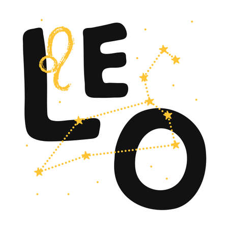 Leo vector zodiac sign. Hand lettering horoscope illustration in cute Scandinavian style. Isolated paint . Forecast 2021. Modern card background Illusztráció