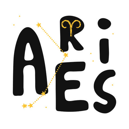 Aries vector zodiac sign. Hand lettering horoscope illustration in cute Scandinavian style. Isolated paint  . Forecast 2021. Modern card background