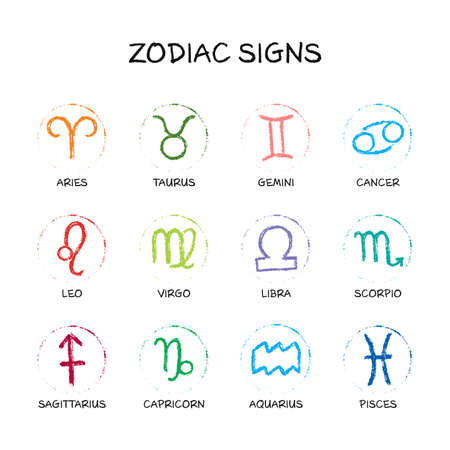 Vector zodiac sign set. Unique   hand drawing by paint brush. Horoscope isolated symbol for 2021. Black illustration