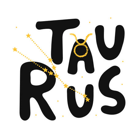 Taurus vector zodiac sign. Hand lettering horoscope illustration in cute Scandinavian style.