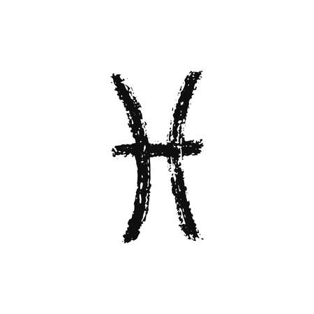 Vector zodiac sign. Pisces handdrawing by paint brush. Horoscope isolated logo for 2021. Black illustration