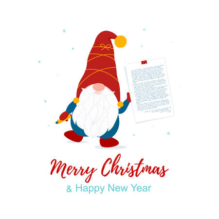 Merry Christmas card with cute Nordic vector gnome and paper with text. Printable background card. Winter outsite design. Vector illustration