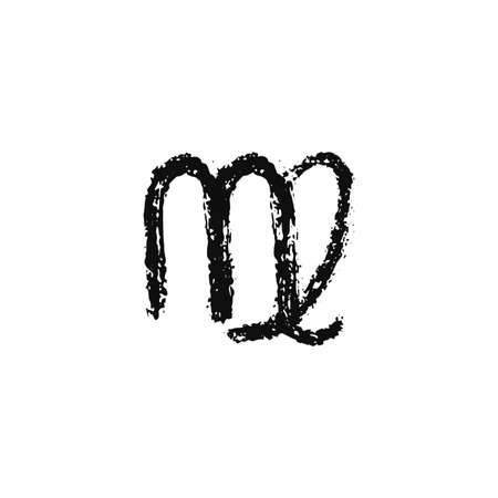 Vector zodiac sign. Virgo handdrawing by paint brush. Horoscope isolated logo for 2021. Black illustration