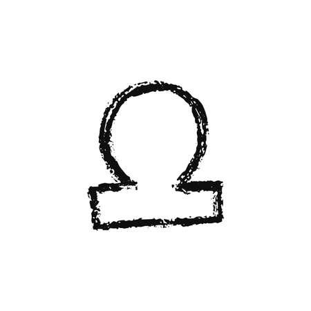 Vector zodiac sign. Libra handdrawing by paint brush. Horoscope isolated logo for 2021. Black illustration
