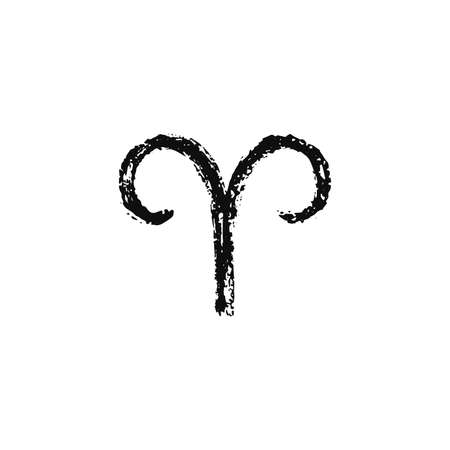 Vector zodiac sign. Aries handdrawing by paint brush. Horoscope isolated logo for 2021. Black illustration