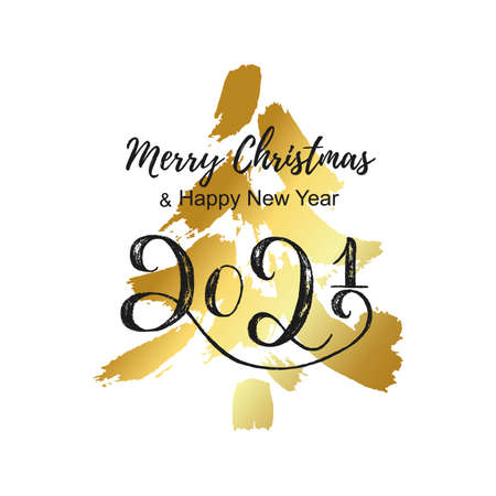Golden Christmas tree and hand lettering 2021. Merry Christmas and Happy New year card. Printable background with hand draw gold tree silhouette. Illustration