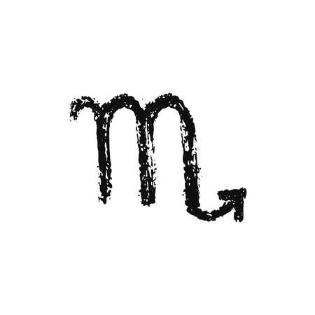 Vector zodiac sign. Scorpio handdrawing by paint brush. Horoscope isolated logo for 2021. Black illustration Иллюстрация