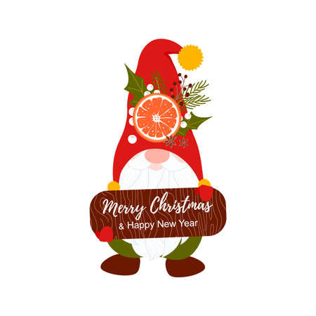 Cute gnome with red hat and wood shape with text Merry Christmas and Happy New Year. Template card background with Nordic Santa and cute winter bouquet and slice orange.  Vector illustration Иллюстрация
