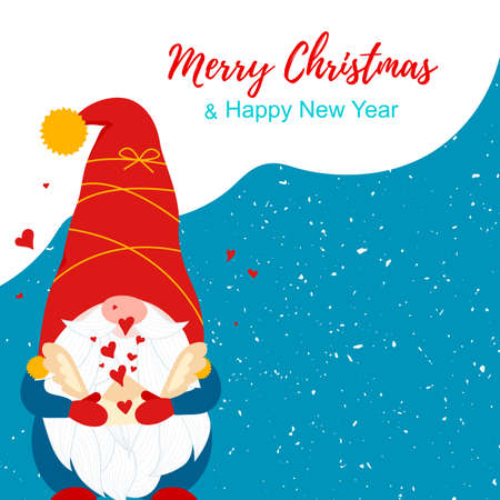 Merry Christmas card with cute Nordic vector gnome and envelope with hearts. Vintage background card. Winter outsite design. Vector illustration