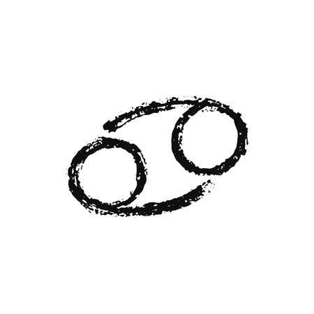 Vector zodiac sign. Cancer handdrawing by paint brush. Horoscope isolated logo for 2021. Black illustration Иллюстрация