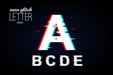 Isolated neon glitch letter from A to E. Noise vector font. Pixel design for social media, web, app, card. Vector Illustration Фото со стока