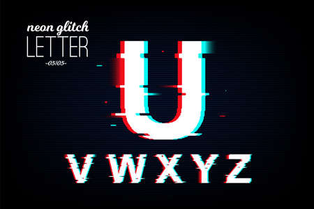 Isolated neon glitch letter from U to Z. Noise vector font. Pixel design for social media, web, app, card. Vector Illustration Фото со стока