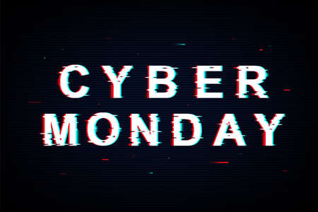 Cyber Monday template poster in neon glitch style. Vector sale banner with modern text. December holiday. Vector illustration for sale