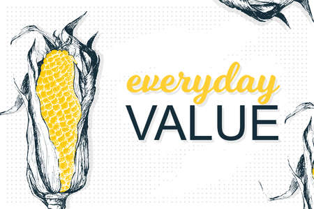 Template poster with vector corn. Vector healthy food is everyday value. Organic yellow antioxidant in modern style. Illustration on points and paint brush background