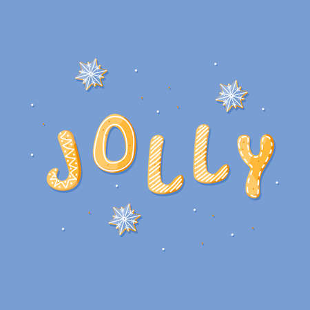 Jolly word vector gingerbread cracker. Sweet isolated text. Cartoon food typography. Vector illustration