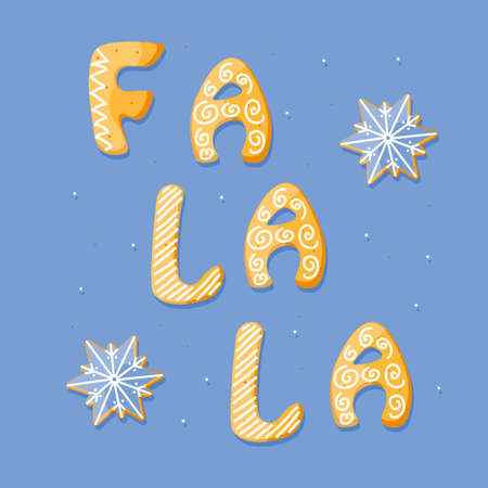 Falala vector card with gingerbread cracker. Sweet isolated text and stars on blue background. Cartoon food typography. Vector illustration Иллюстрация