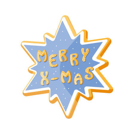 Vector star cookie gingerbread with words Merry Xmas. Sweet isolated cracker for design. Cartoon food typography. Vector illustration