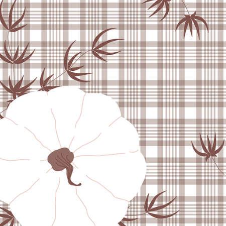 Autumn white pumpkin background. Thanksgiving symbol design concept.  Template vector card for sale, poster, printable illustration. Иллюстрация