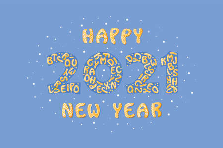 2021 Happy New Year. Template poster background with cartoon gingerbread crackers. Cute card design. Banner with food elements. Vector Illustration Çizim