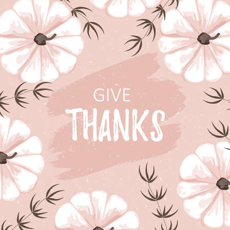 Template card with white cartoon pumpkin. Give thanks words on ink background. Vector thanksgiving flat printable card. Illustration