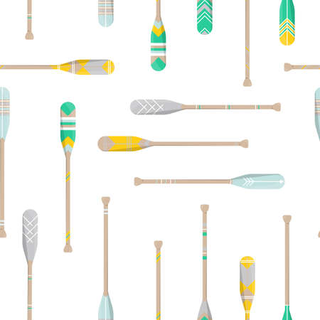 Seamless pattern with oars paddle silhouette on white background. Printble ornament for home decor in trend style. Vector Illustration