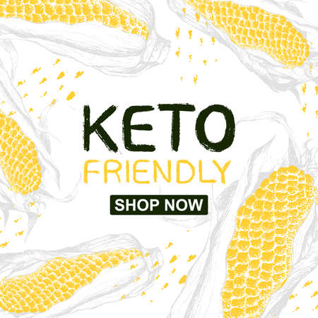 Template background with corn and  text Keto Friendly. Shop Now. Yellow pattern with food illustration. Sale