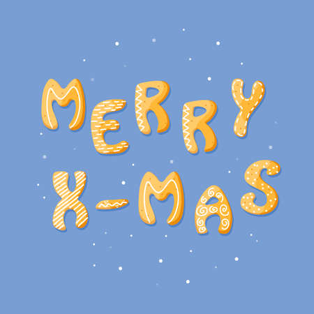 Merry Xmas vector card with gingerbread cracker. Sweet isolated text on blue background. Cartoon food typography. Vector illustration