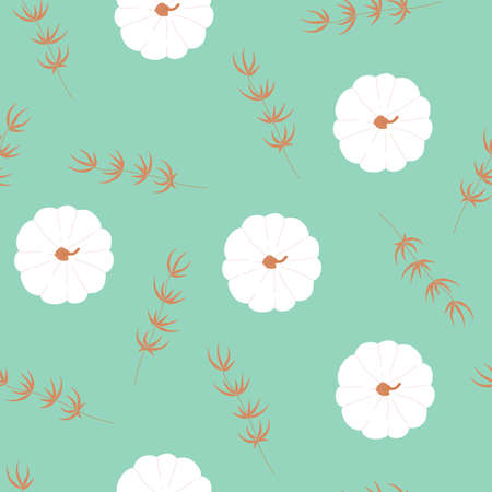 Seamless pattern with autumn white pumpkin in modern flat style. Holiday symbol. Background for print wallpaper, textile, thanksgiving. Vector illustration on green Иллюстрация