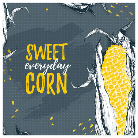 Vector template card with corn. Sweet everyday corn concept design. Organic vitamin background with paint ink. Illustration Иллюстрация