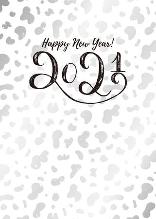 Happy New Year 2021 vertical template card. Hand draw lettering on modern silver cow hide pattern background. Vector texture