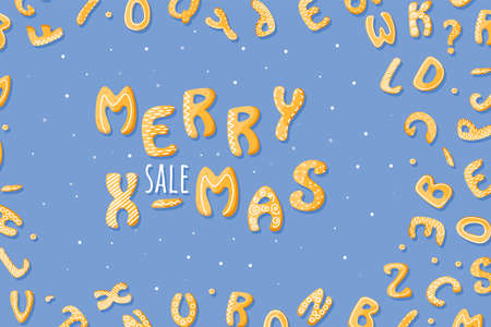 Sale template poster. Merry Xmas sale off with letters from sweet gingerbread design. Cartoon food style with white cream. Holiday cute vector background Иллюстрация