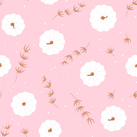 Pink background with cute pumpkin seamless pattern. Template poster for Thanksgiving sale, holiday, card. Vector illustration Иллюстрация