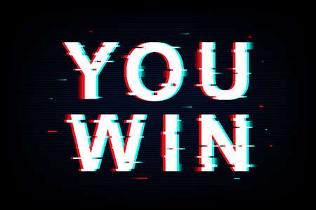 You Win words in neon glitch style. Grunge noise text. Retro game concept design. Vector illustration Фото со стока
