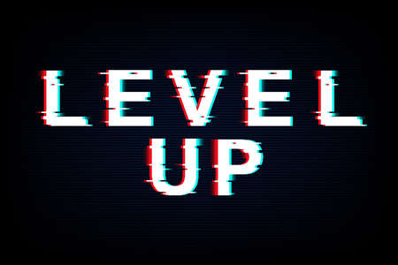 Level Up words in neon glitch style. Grunge noise text. Retro concept game design. Vector illustration